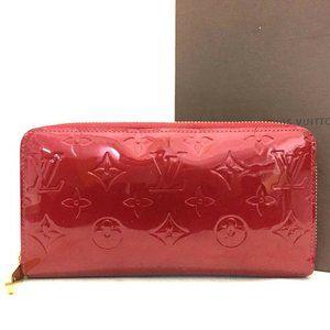 Auth Louis Vuitton Enamel Patent Zippy Zip Wallet
